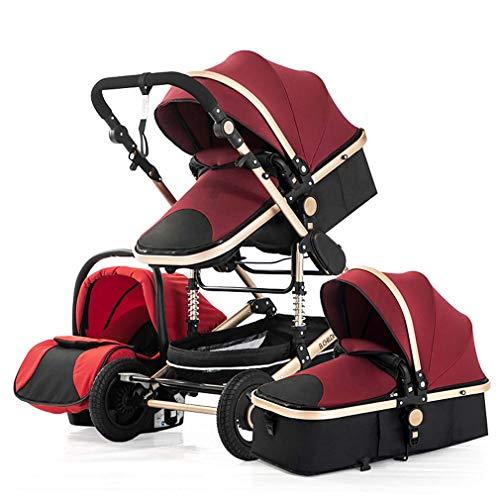 Kinderwagen, 3-in-1 reissysteem - Hoge capaciteit landschap Luxe kinderwagen voor pasgeborenen en peuters, draagbare anti-schokveren opvouwbare kinderwagen,Red