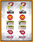 N. 14 - Kit Adesivi Stickers divertenti - Milf, labbra, sexy - Moto Auto decal fun tube per casco valigia scooter auto tuning