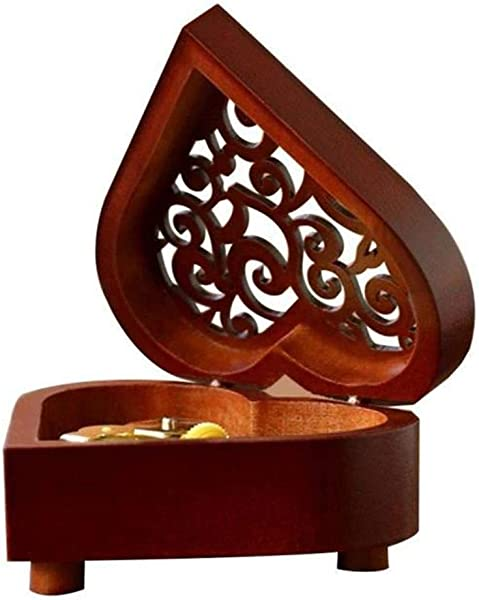 Younghee Kwon Wooden Boxes Unchained Melody Wooden Hollow Out Heart Shape Music Box Gifts For Girls Christmas Birthday Valentine S Day Wooden Wooden