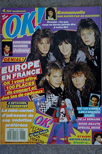OK ! âge tendre 576 JANVIER 1987 COVER EUROPE EMMANUELLE JOHNNY HALLYDAY STACEY Q VIKTOR LAZLO + MINI CARNET ADRESSES STARS