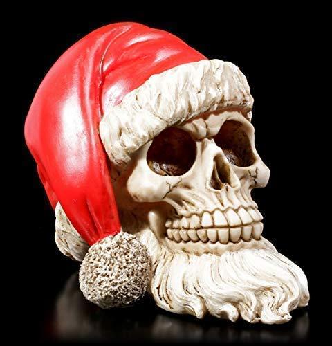 Figuren Shop GmbH Gothic Totenkopf mit Weihnachtsmütze und Bart   Fantasy Dekoartikel, Handbemalt