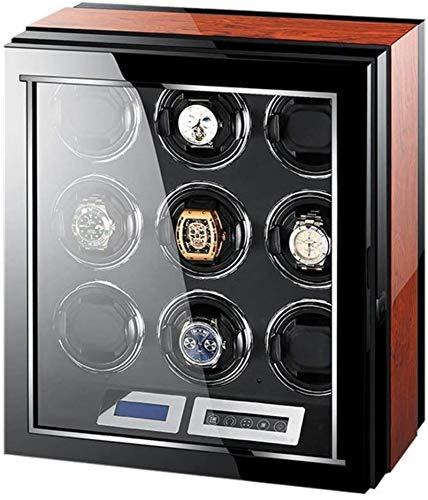 XY-M Uhrenbeweger, automatische Uhrenbeweger Box, 9 Holz Silent Batterie Uhrgehäuse Uhrenbox Wickler Speicher schwarz-Display und braun