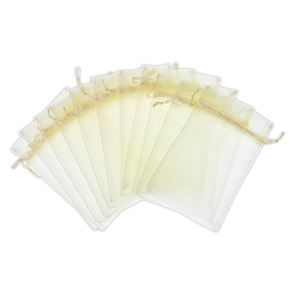 SumDirect 100Pcs 3x4 inches Sheer Drawstring Organza Jewelry Pouches Wedding Party Christmas Favor Gift Bags (Beige)