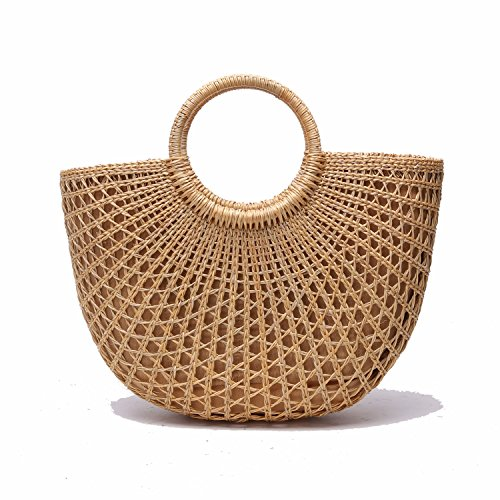 JOLLQUE Handwoven Womens Straw Tote Bags,Top Handle Handbag,Beach Bag Purse (Hollow)