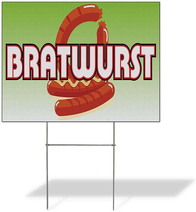 Size 18inx24in Two Side Print Weatherproof Yard R Bratwurst Sign Brand Cheap Sale Max 78% OFF Venue