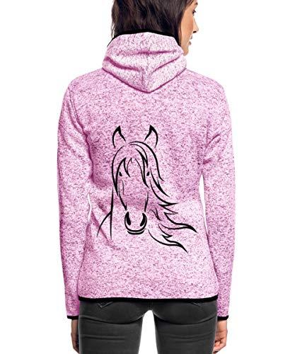 Pferd Pferdekopf Zeichnung Frauen Kapuzen-Fleecejacke, S, Lila meliert