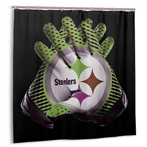 FQWEDY Duschvorhang, 3D-Druck Cyan Steeler Rugby-Handschuhe Grau Rauch Schwarz Hintergr& Badvorhang Set mit Haken