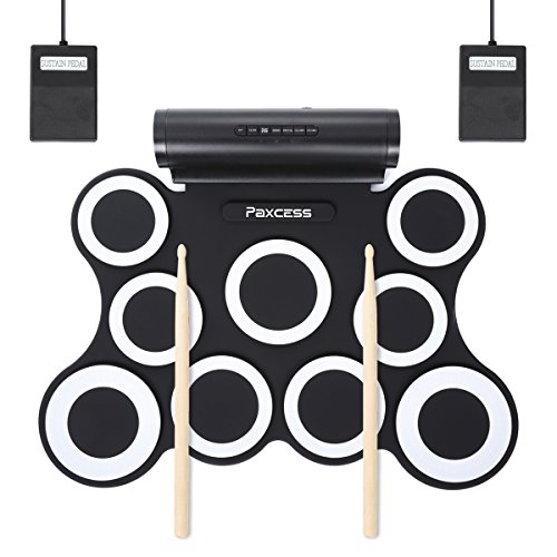 Electronic Drum Set, 9 Pads Electric Drum Set with Headphone Jack, Built in Speaker and Battery, Drum Stick, Foot Pedals, Best Gift for Christmas Holiday Birthday