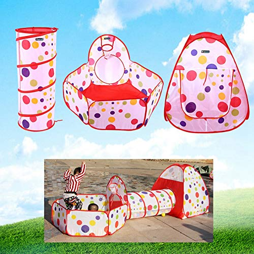 3 en 1 Tienda de Campaña Plegable, con Casita Infantil + Tunel Infantil + Piscina de Bolas, Ideal para Interiores y Exteriores para Niños a Partir de 3 Años