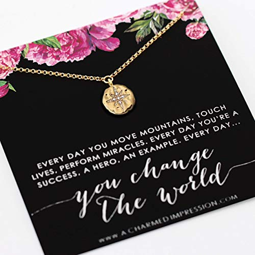 Everyday You Change the World • Gift for Nurse, Foster Mom, Social Worker, Mentor, Teacher • 14k Gold • Diamond Starburst Necklace • Gratitude Appreciation • Thank You Gifts • Inspirational Jewelry