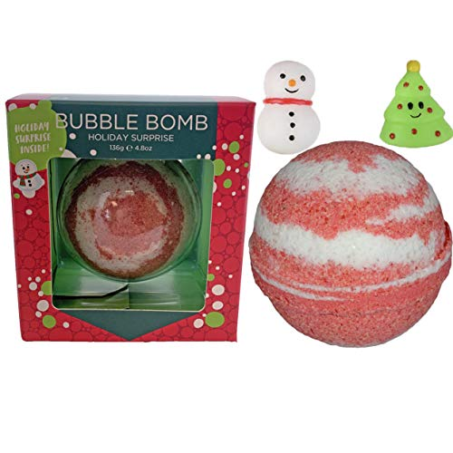 Christmas Bubble Bath Bomb for Kids with Surprise Holiday Squishy Toy Inside by Two Sisters. Large 99% Natural Fizzy in Gift Box. Moisturizes Dry Sensitive Skin. Releases Color, Scent, and Bubbles.