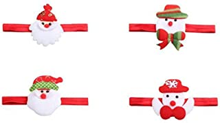 Christmas Merry Wishes 4Pcs Cute Baby Girls Turban Christmas Headbands Hair Clips Colorful Cotton Cloth Hair Wraps Santa C...