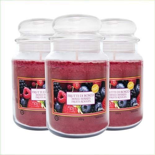 Virsus Candele profumate in Giara Grande Set da 3 Candele profumate Relax Candle profumazione Frutti di Bosco