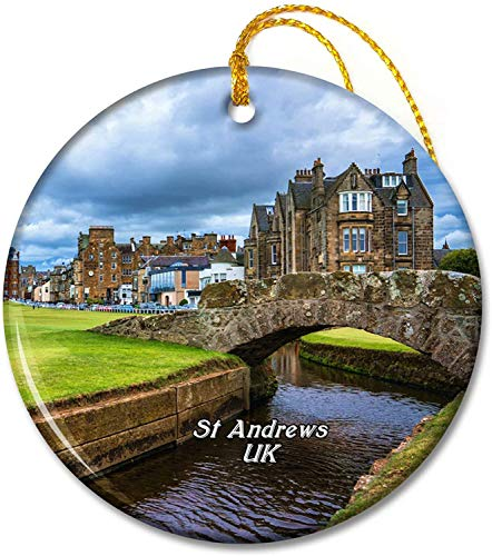 UK England The Swilcan Bridge St Andrews Ornaments 2.8 inch Ceramic Round Holiday Ornament Pandent for Family Friends