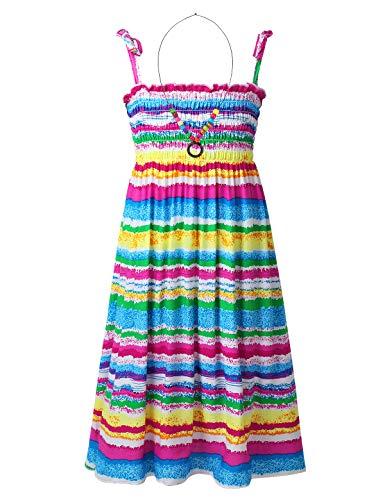 CHICTRY Mädchen Kleider Sommerkleid Boho Strandkleid Stretch Hohe Taille Freizeit Kleid mit Halskette Prinzessin Partykleid Gr. 104-152 Regenbogenfarbe (Streifen) 140-152