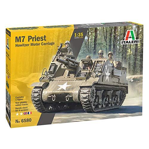Italeri 6580S 1:35 US M-7 Priest Howitzer Self-Prop, Modellbau, Bausatz, Standmodellbau, Basteln, Hobby, Kleben, Plastikbausatz, Navy grün