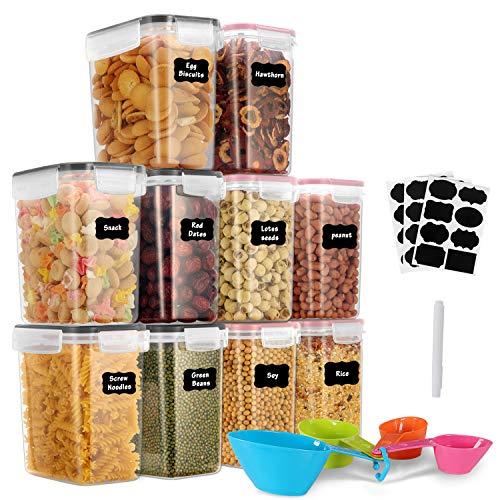 GoMaihe 1.6L Boite de Rangement Cuisine Lot de 10, Bocaux Hermetiques Alimentaires en Plastique Scellée avec Couvercle, pour Stocker Les Cereales, Pâtes, Farine, Rose + Noir