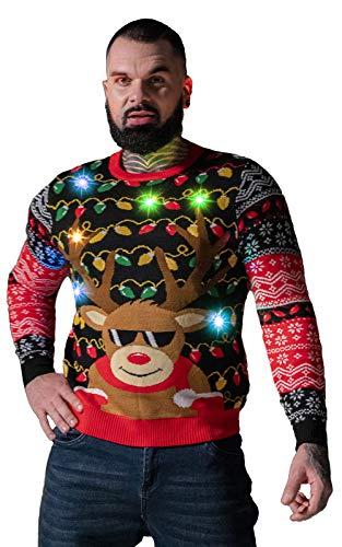 U LOOK UGLY TODAY - Maglione natalizio da uomo con luce LED, divertente maglione maglione maglione...