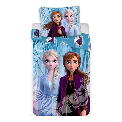 Disney Frozen 2 Juego de ropa de cama de Frozen Anne Elsa Snowflake funda de almohada 140 x 200 cm