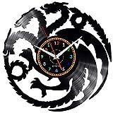 EVEVO Reloj de pared de Juego de Tronos de Juego de Tronos, reloj de vinilo, diseño vintage, hecho a mano, regalo para el hogar, decoración interior, reloj de vinilo