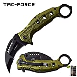 Spring-Assist Karambit Folding Knife | Tac-Force 3' Carbon Sharp Blade Green Tactical Combat Knife + Free eBook by SURVIVAL STEEL