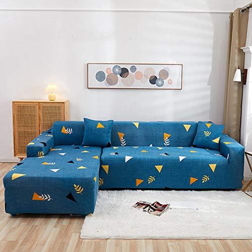 Funda de Sofá Elástica 1/2/3/4 Plazas Cubre Sofas Universal 3 Plazas: 190-230 cmazul,Triangulo Poliéster Spandex Protector Cubierta de Muebles