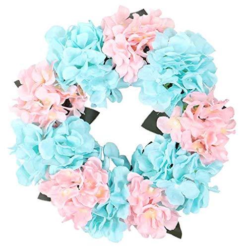 Makalon decoratieve slinger, hortensia-simulatie, kunstbloemen, bladen, wandslinger, ramen, deur, decoratie voor bruiloft thuis