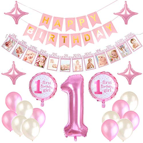 Feelairy 1er Cumpleaños Bebe Globos Decoracion para Niña, 1 Año Cumpleaños Globos Decoración para Fiesta de Primer Cumpleaños, Happy Birthday Pancarta Banderines Rosa, 12 Meses Foto Guirnalda