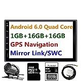 Panlelo PA09YZ16, 17,8 cm 2 DIN Autoradio Android 6.0 GPS Navigation Car Stéréo Audio Radio 1080p Vidéo Player ARMV7 Quad Core le Wi-Fi intégré Bluetooth AM/FM/RDS Commande au volant [Classe énergétique A]