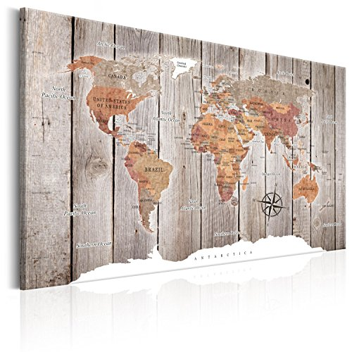 B&D XXL murando Impression sur Toile intissee120x80 cm 1 Piece Tableau Tableaux Decoration Murale Photo Image Artistique Photographie Graphique Poster Carte du Monde Continent k-C-0050-b-b