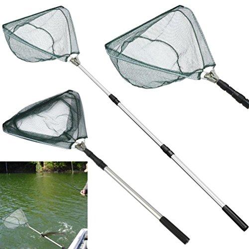 MuSheng™ - Épuisette triangulaire télescopique et pliable pour la pêche - Avec poignée rétractable en acier inoxydable - Capture et remise à l'eau en toute sécurité