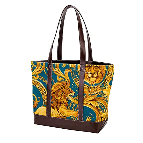 NaiiaN Bolso de mano con llama de León dorado para madres, mujeres, niñas, señoras, estudiantes, bolsos de hombro, monedero, bolsos de compras, correa liviana