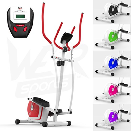 We R Sports Elliptical Cross Trainer & Exercise Bike 2-IN-1 Home Cardio Workout (Red)