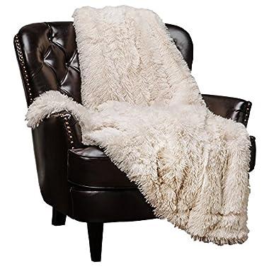Chanasya Super Soft Shaggy Longfur Throw Blanket   Snuggly Fuzzy Faux Fur Lightweight Warm Elegant Cozy Plush Sherpa Fleece Microfiber Blanket   for Couch Bed Chair Photo Props - 50 x 65  - Cream