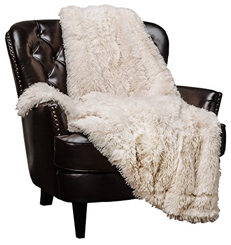 Chanasya Super Soft Fuzzy Shaggy Faux Fur Throw Blanket - Chic Design Snuggly Plush Lightweight with Fluffy Reversible Sherpa for Couch Living Room Bedroom and Home Décor (50x65 Inches)