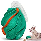 M.C.works Dog Toys for Aggressive Chewers, Puppy Pet Indestructible Dog Rope Toys, Extreme Dog Toy for Heavy Chewers- Toughest Natural Rubber- Fun to Chew, Chase and Fetch-Green