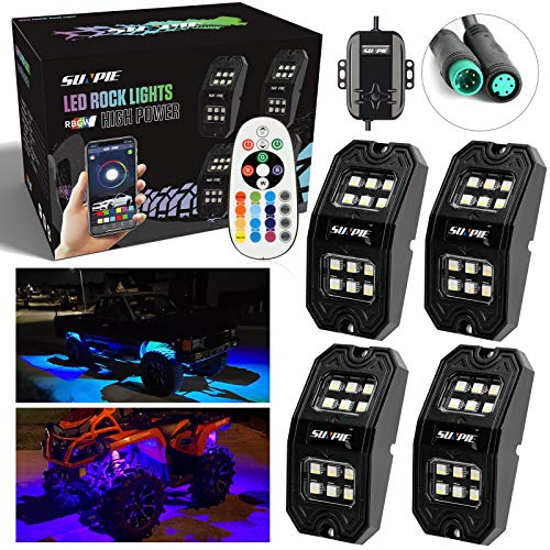 SUNPIE UPGRADED 210 DEGREES Wide Angle RGBW LED Rock Lights 4 Pod Lights with Phone App/Remote Control & Timing & Music Mode & Flashing & Automatic Control Neon Lights Under Off Road Truck SUV ATV