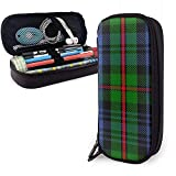 Clan MacKinlay Tartan Leather Pencil Case Pouch Zippered Pen Box Stationery Box Travel Makeup Pouch Bag