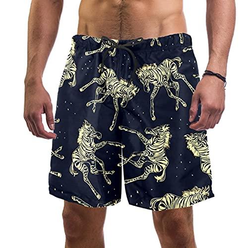 YATELI Pantalones Cortos de Playa Pantalones Cortos para Hombre de Secado rápido,Cebra Transparente,Shorts de baño con Forro de Malla
