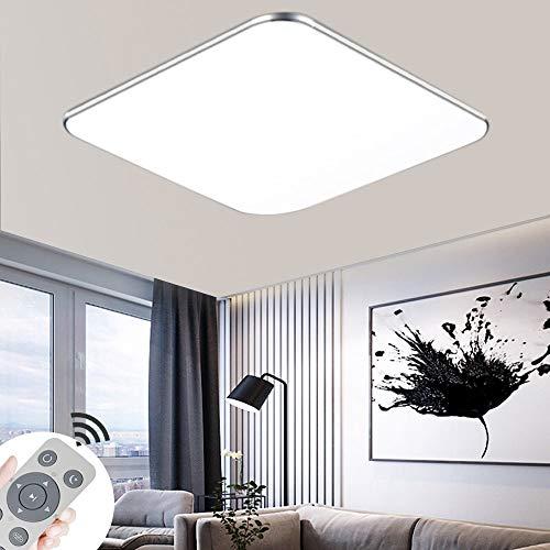BRIFO 48W Plafonnier LED Dimmable,Plafonnier Pour Hall, Cuisine, Salon, Bureau, Lumière à économie d'énergie Design De Lampe Moderne, Dimmable (3000-6500K) Dvec Délécommande (48)