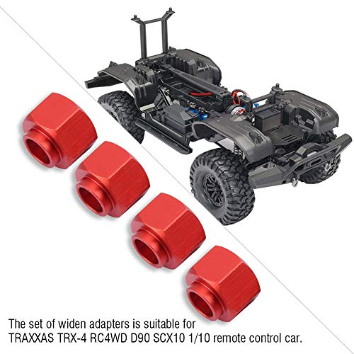 Dilwe RC Auto Widen Adapter, Metall 9mm Felgenverbreiterungssatz für TRAXXAS TRX-4 D90 SCX10 1/10 Auto(Rot)