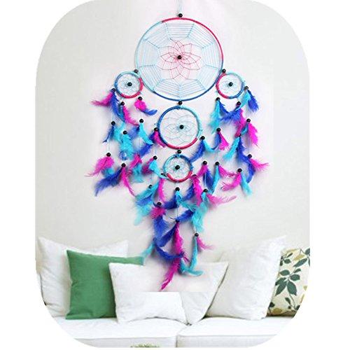 Atrapasueños colorido hecho a mano arco iris grande azul rosa y morado de plumas Atrapasueños adorno