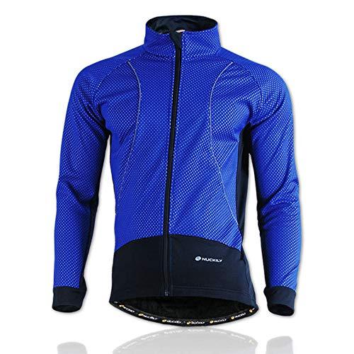 Hellay Chaqueta de Ciclismo para Hombre Abrigo Resistente al Agua y al Viento Invierno Térmico Cortavientos para Bicicleta-Azul_S
