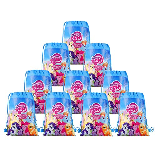 LUCK COLLECTION My Little Pony Bags Party Treat Drawstring Bags for Birthday Party, 12 Pack (Blue)