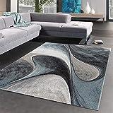 UN AMOUR DE TAPIS - MADILA - 200x200 cm - Tapis Moderne Design Tapis Salon - Tapis Rond - Tapis Bleu Gris Noir - Couleurs et Tailles Disponibles (Rond)