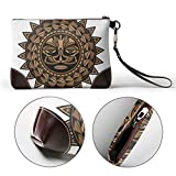 UAHYA Polynesian Tattoo Design Face Leather Hand Bag 3D HD Printed,Makeup Bag Handbag Purse Wristlet Wallet Clutch Phone Purse Money Pouch Wristlet Clutch Bag for Women