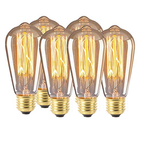 Vintage Edison Light Bulb, E27 Edison Screw Bulb, 4W Equivalent 40W, Warm White 2300K, 480LM, 360°Beam, Dimmable, ST64 6-Pack