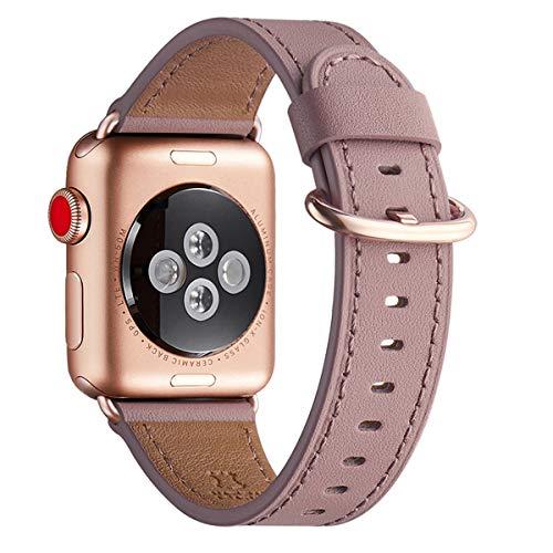 WFEAGL Kompatibel für Watch Armband 38mm 40mm 42mm 44mm,Top Grain Lederband Ersatzband mit Edelstahl-Verschluss Kompatibel für Serie 5/4/3/2/1(42mm 44mm, Mauve+roségold Adapter)