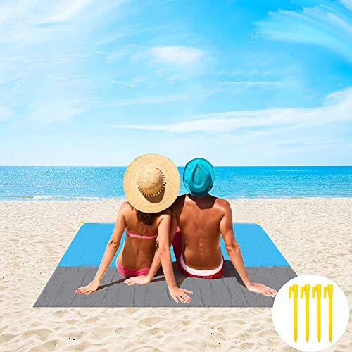 TOCYORIC Manta de Playa 140 x 200 cm, Alfombra de Playa Impermeable...