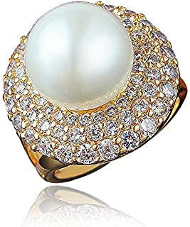 Women White Gold Plated Alloy Elegant Big Pearl Statement Ring Fashion Jewelry For Wedding